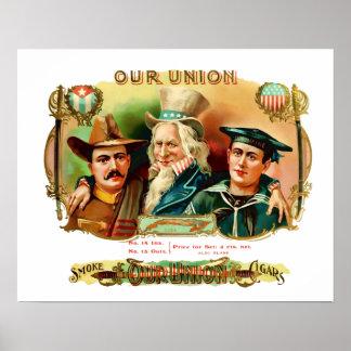 Nuestra etiqueta de la caja del vintage del póster