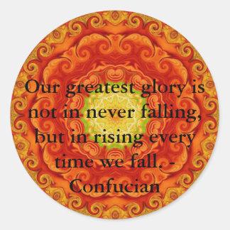 Nuestra gloria más grande no consiste en nunca pegatina redonda