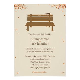 Nuestra invitación del boda de la caída del banco invitación 12,7 x 17,8 cm