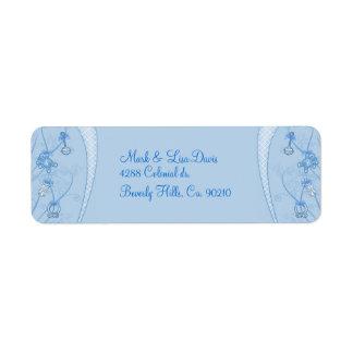 Nuestra nueva adición en tonalidades azules etiquetas de remite