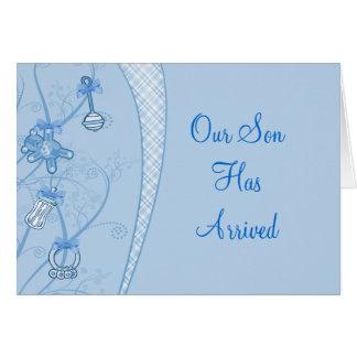 Nuestra nueva adición en tonalidades azules tarjeta de felicitación