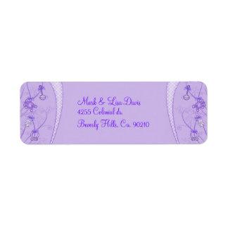 Nuestra nueva adición en tonalidades púrpuras etiqueta de remitente