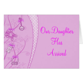 Nuestra nueva adición en tonalidades rosadas tarjeta de felicitación