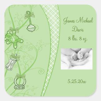 Nuestra nueva adición en tonalidades verdes pegatina cuadrada