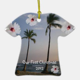 Nuestra palmera tropical de Hawaii del primer Adorno Para Reyes