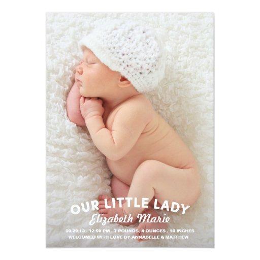 """Nuestra pequeña señora Birth Announcement Invitación 5"""" X 7"""""""