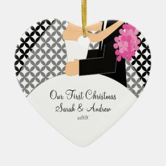 Nuestra primera novia y novio del ornamento del na adornos de navidad