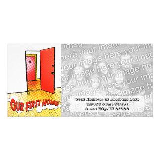 nuestra primera puerta cómica casera plantilla para tarjeta de foto