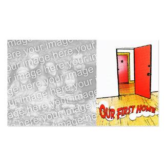 nuestra primera puerta cómica casera tarjetas de visita