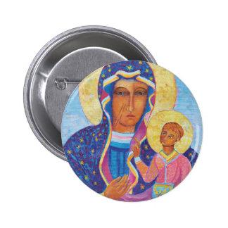 Nuestra señora de Czestochowa Madonna negro Pin Redondo De 2 Pulgadas