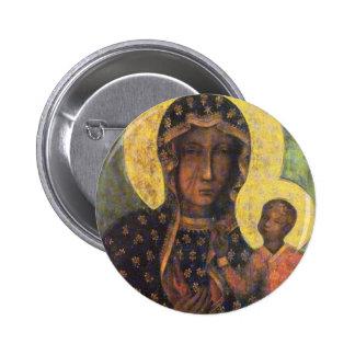 Nuestra señora de Czestochowa Pin Redondo De 2 Pulgadas