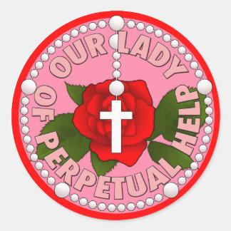 Nuestra señora de la ayuda perpetua etiqueta redonda