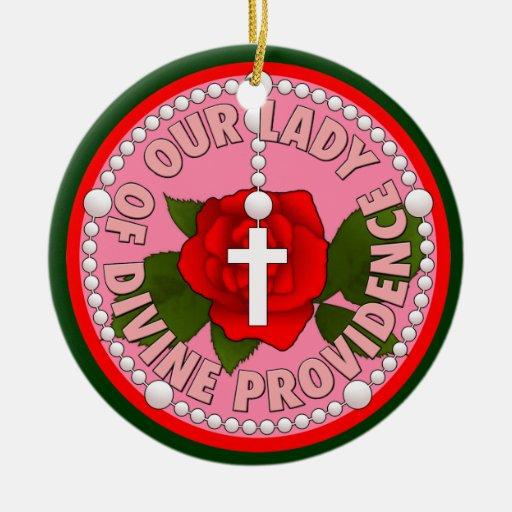 Nuestra señora de la divina providencia adorno navideño redondo de cerámica