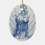 Nuestra señora de la paz adorno navideño ovalado de cerámica