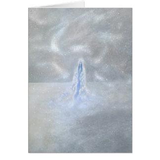 Nuestra señora de las nieves con el poema tarjeta pequeña