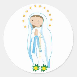 Nuestra señora de Lourdes Etiqueta Redonda
