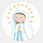 Nuestra señora de Lourdes Etiquetas Redondas