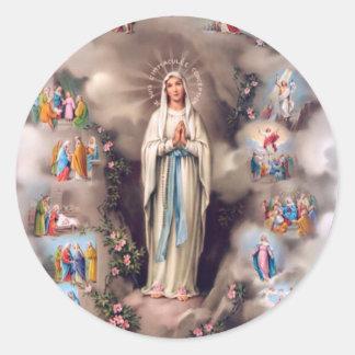 Nuestra señora de Lourdes Pegatinas Redondas