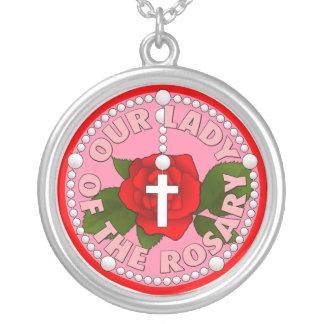 Nuestra señora del rosario colgante redondo