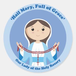 Nuestra señora del rosario pegatina redonda