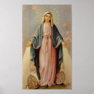 Nuestra señora del Virgen María bendecido rosario  Póster