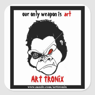 nuestra solamente arma es arte, gorila pegatina cuadrada