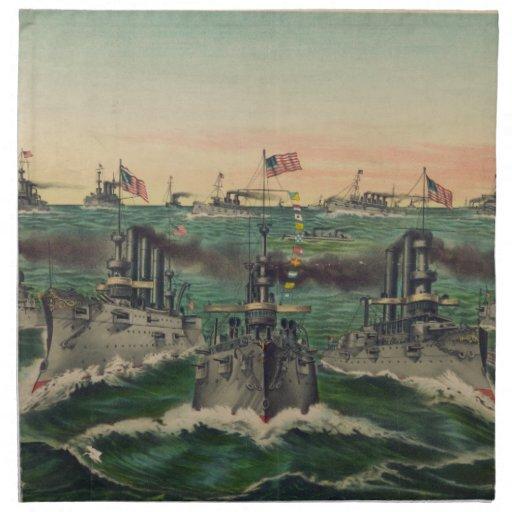 Nuestras flotas victoriosas en cubano riegan al cu servilleta de papel