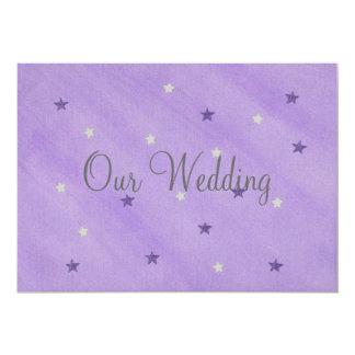 """Nuestras invitaciones del boda, púrpura y invitación 5"""" x 7"""""""