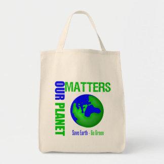 Nuestras materias del planeta ahorran la tierra va bolsa de mano