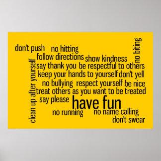 Nuestras reglas de la sala de clase de la escuela posters