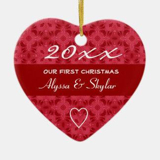 Nuestro 1r navidad adorna G413 rojo y blanco Ornamentos De Reyes