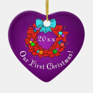 Nuestro 1r navidad adorno navideño de cerámica en forma de corazón