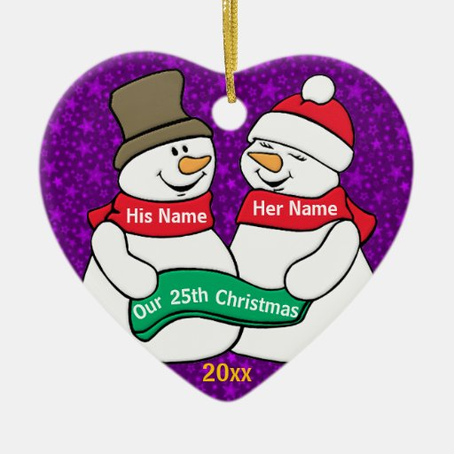 Nuestro 25to navidad adorno de cerámica en forma de corazón