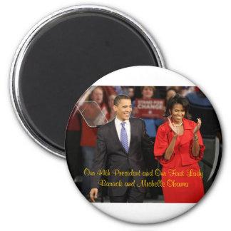 Nuestro 44.o presidente y nuestra primera señora imán redondo 5 cm