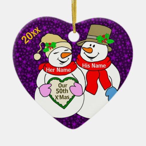 Nuestro 50.o navidad adorno navideño de cerámica en forma de corazón