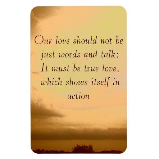 Nuestro amor no debe ser apenas palabras imán rectangular
