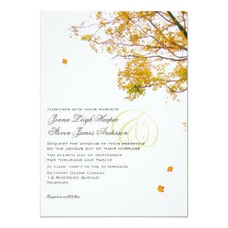 """Nuestro árbol en invitaciones del boda de la caída invitación 5"""" x 7"""""""