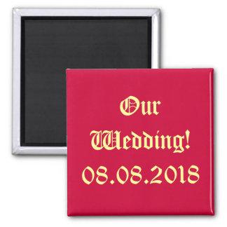 ¡Nuestro boda - ahorre la fecha! Imán