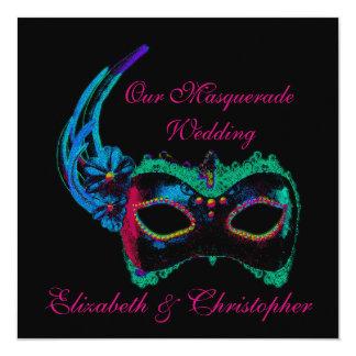 """""""Nuestro boda de la mascarada"""" - azul y rosa Invitación 5.25"""" X 5.25"""""""