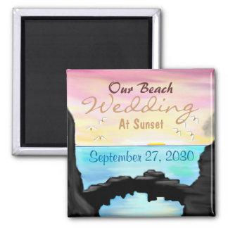 Nuestro boda de playa imán cuadrado
