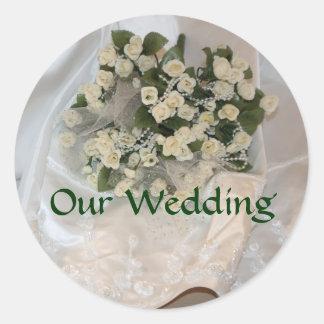 Nuestro boda etiquetas redondas