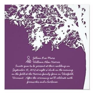 Nuestro boda púrpura del árbol de la silueta del invitaciones personales