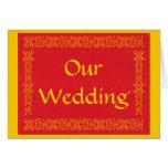 Nuestro boda, rojo y tarjetas de la invitación del