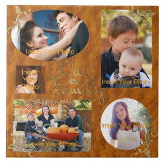 Nuestro collage del álbum de foto de familia azulejo cuadrado grande