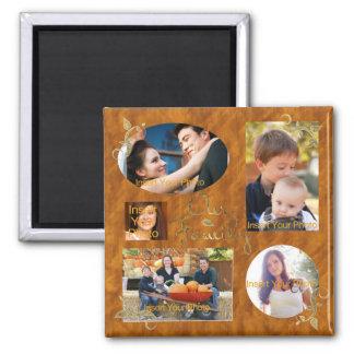 Nuestro collage del álbum de foto de familia imán cuadrado
