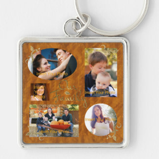 Nuestro collage del álbum de foto de familia llavero cuadrado plateado