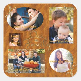 Nuestro collage del álbum de foto de familia pegatina cuadrada