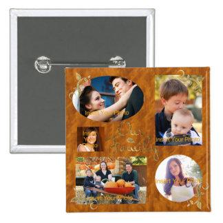 Nuestro collage del álbum de foto de familia pin cuadrado