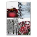 Nuestro collage rojo del invierno del primer navid felicitaciones