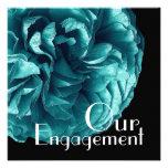 Nuestro compromiso - azul elegante de la aguamarin invitación personalizada